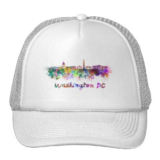 Washington DC skyline in watercolor Trucker Hat
