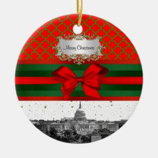 Washington DC Skyline Red Green Quatrefoil BG Xmas Round Ceramic Ornament