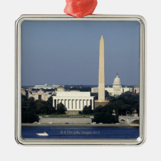 Washington DC Skyline with US Capitol Building 2 Silver-Colored Square Ornament