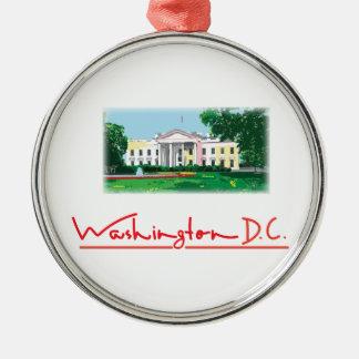 Washington DC - White House Silver-Colored Round Ornament