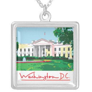 Washington DC - White House Souvenir Silver Plated Necklace