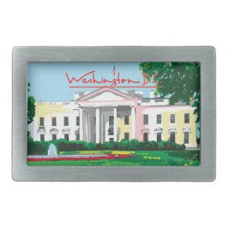 Washington DC - White House Square Rectangular Belt Buckle