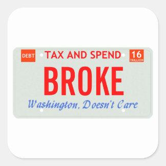 Washington Doesn't Care Square Sticker