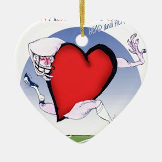 Washington head heart, tony fernandes ceramic heart ornament