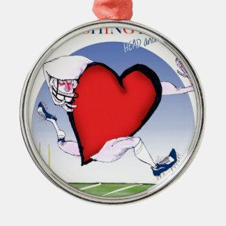 Washington head heart, tony fernandes Silver-Colored round ornament