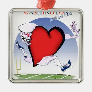 Washington head heart, tony fernandes Silver-Colored square ornament