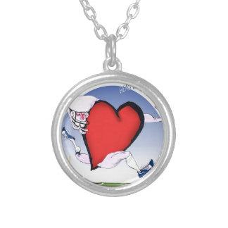 Washington head heart, tony fernandes silver plated necklace