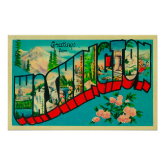 Washington - Large Letter Scenes Poster