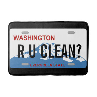 Washington license plate customizable bath rug