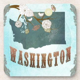 Washington Map With Lovely Birds Coasters