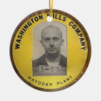 Washington mills work badge ceramic ornament