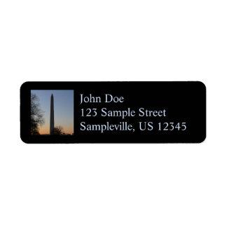 Washington Monument at Sunset Return Address Label