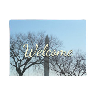 Washington Monument in Winter I Travel Photography Doormat