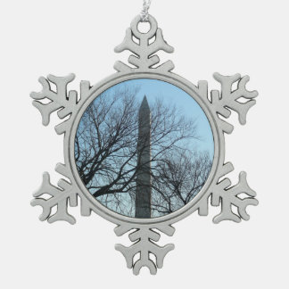 Washington Monument in Winter I Travel Photography Snowflake Pewter Christmas Ornament