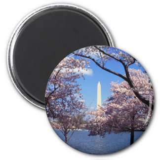 Washington Monument Through Cherry Blossoms 2 Inch Round Magnet