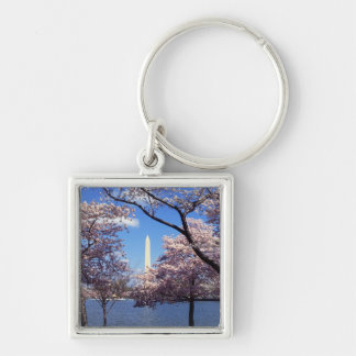 Washington Monument Through Cherry Blossoms Keychain
