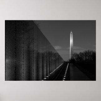 Washington Monument & Vietnam Wall B&W Poster