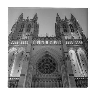 Washington National Cathedral on a foggy night Ceramic Tiles