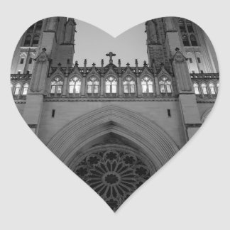 Washington National Cathedral on a foggy night Heart Sticker