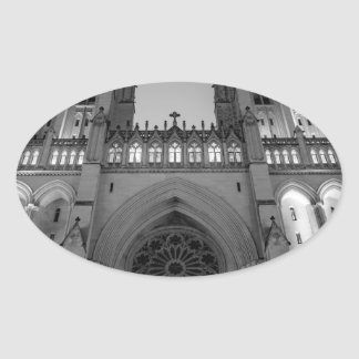 Washington National Cathedral on a foggy night Oval Sticker