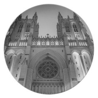 Washington National Cathedral on a foggy night Plate