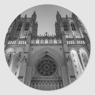 Washington National Cathedral on a foggy night Round Sticker