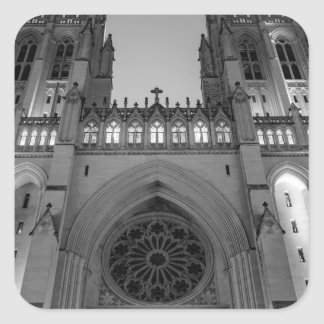 Washington National Cathedral on a foggy night Square Sticker