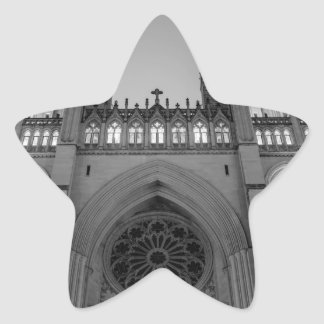 Washington National Cathedral on a foggy night Star Sticker