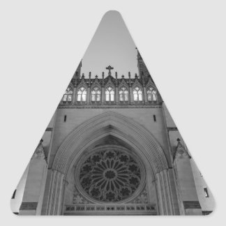 Washington National Cathedral on a foggy night Triangle Sticker