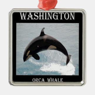 Washington Orca Whale Metal Ornament