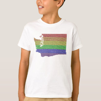 Washington Rainbow Pride Flag Mosaic For Kids T-Shirt