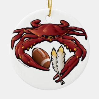 Washington Red Crab Football Ceramic Ornament