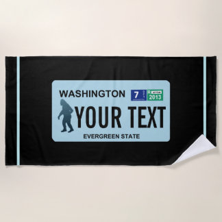 Washington Sasquatch License Plate Beach Towel