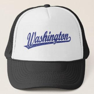 Washington script logo in blue distressed trucker hat