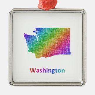 Washington Silver-Colored Square Ornament