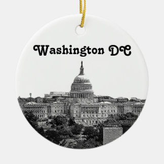 Washington Skyline Etched Round Ceramic Ornament