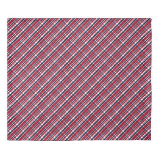 Washington Sports Fan Red White Blue Plaid Duvet Cover