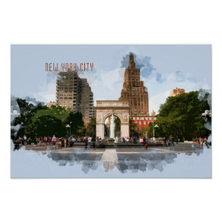 Washington Square Park with TEXT New York City Poster
