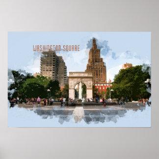 Washington Square Park with TEXT WASHINGTON SQUARE Poster