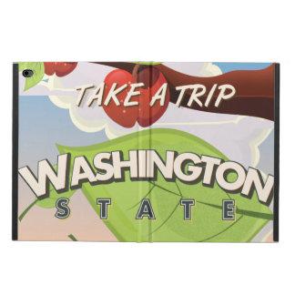 Washington State Apple tree Travel Poster Cartoon.