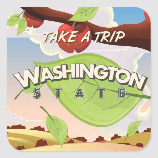Washington State Apple tree Travel Poster Cartoon. Square Sticker