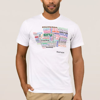 Washington State City Map T-Shirt
