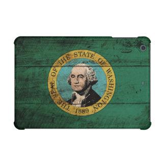 Washington State Flag on Old Wood Grain iPad Mini Retina Covers