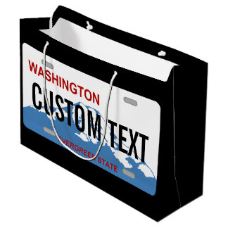 Washington state license plate custom giftbag large gift bag