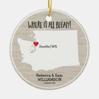 Washington State Love Custom Map New Couple Ceramic Ornament