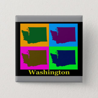 Washington State Map 2 Inch Square Button