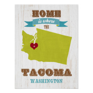 Washington State Map Art- Love Tacoma Art Poster