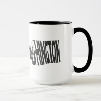 Washington State Name Word Art Black Mug