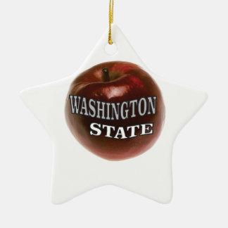 Washington state red apple ceramic ornament