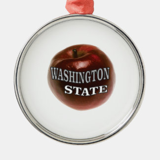 Washington state red apple metal ornament